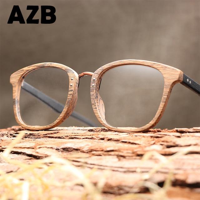 d0e1367a812 AZB Handmade fashion flat mirror Wood Sunglasses Men Bamboo Sunglass  optical frames Women Wood grain plate Art plain Sun Glasses