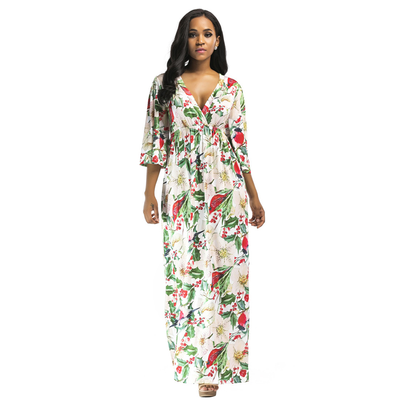 f20670ada5b Jessie Vinson Fashion Women Plus Size Deep V neck Half Sleeve Big Swing Tropical  Print Maxi Dress High Waist Long Dress 3 Colors-in Dresses from Women s ...