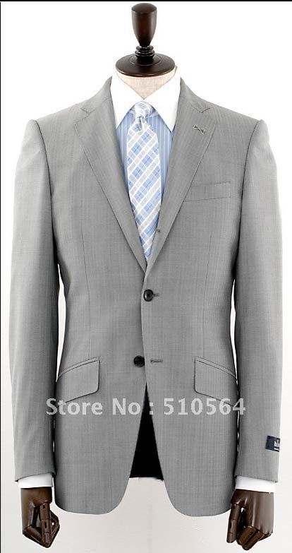 Hot sale Wool suit Men Formal Business suit Two button light grey ...