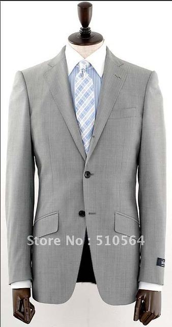 9ee24c1b5dd Hot sale Wool suit Men Formal Business suit Two button light grey Suit  Wholesale Free shipping