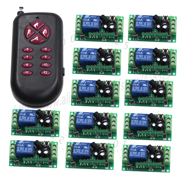 цена на MITI-DC12V 12CH 10A 1000m long range remote control Light Switch Relay Output Radio 12 Receiver Module +1 Transmitter SKU: 5112