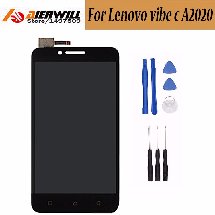 For-Lenovo-vibe-c-A2020-LCD-Display-with-Touch-Screen-Digitizer-Sensor-Outer-Glass-Black-Replacement