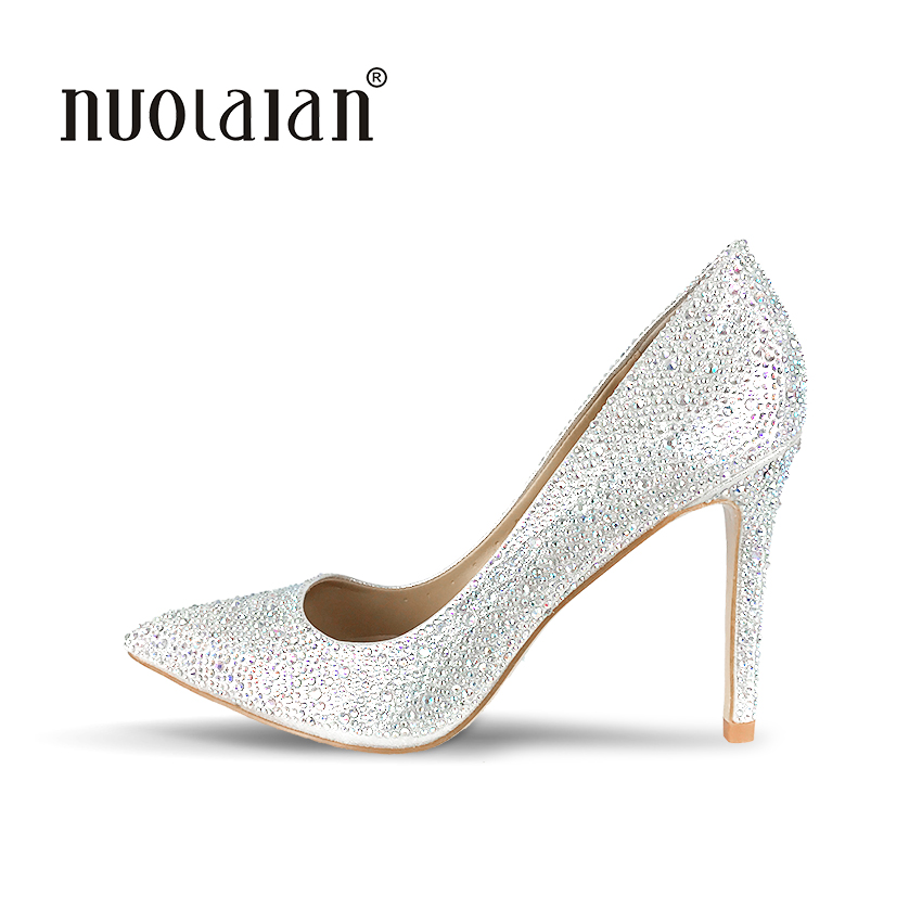 Brand women pumps rhinestone high heel pumps shoes for women sexy pointed toe high heels party wedding crystal shoes woman sequined cloth women pumps super high heel sexy shoes pointed toe wedding shoes women pumps slip on elegant party wedding pumps