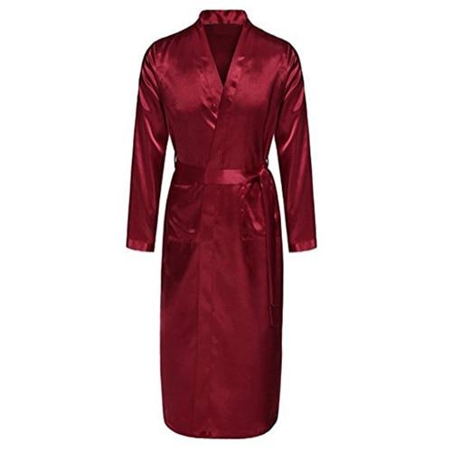 Burgundy Mens Robe Hot Sale Faux Silk Kimono Bath Gown Bathrobe Nightgown Sleepwear Hombre Pijama Size S M L XL XXL ZhM055