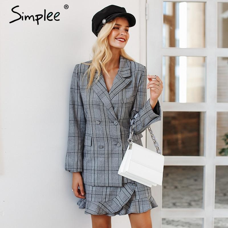 Simplee Elegant Plaid Turndown Collar Women Blazer Suit Ruffles Two Piece Set Long Sleeve Skirt Suit Office Ladies Coat