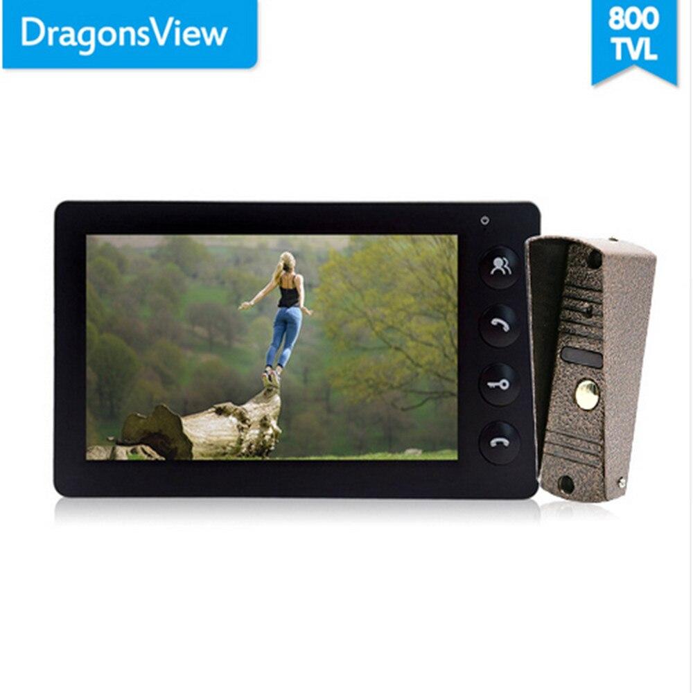 Dragonsview Wired Video Doorbell Intercom System Video Camera 7 Inch Indoor Monitor Black Unlock Talking Video