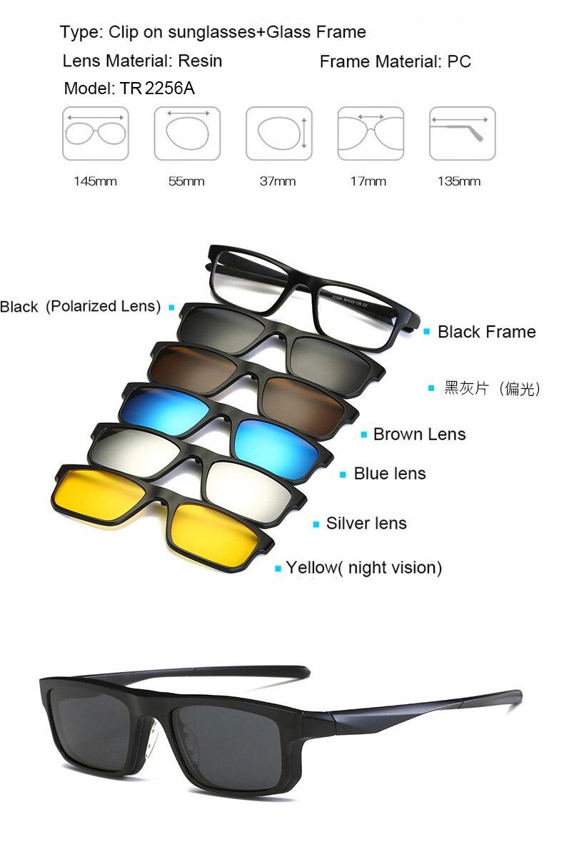 0a6abad92e 1 cadre noir + 1 lentille polarisée noire + 4 lentilles UV400 normales