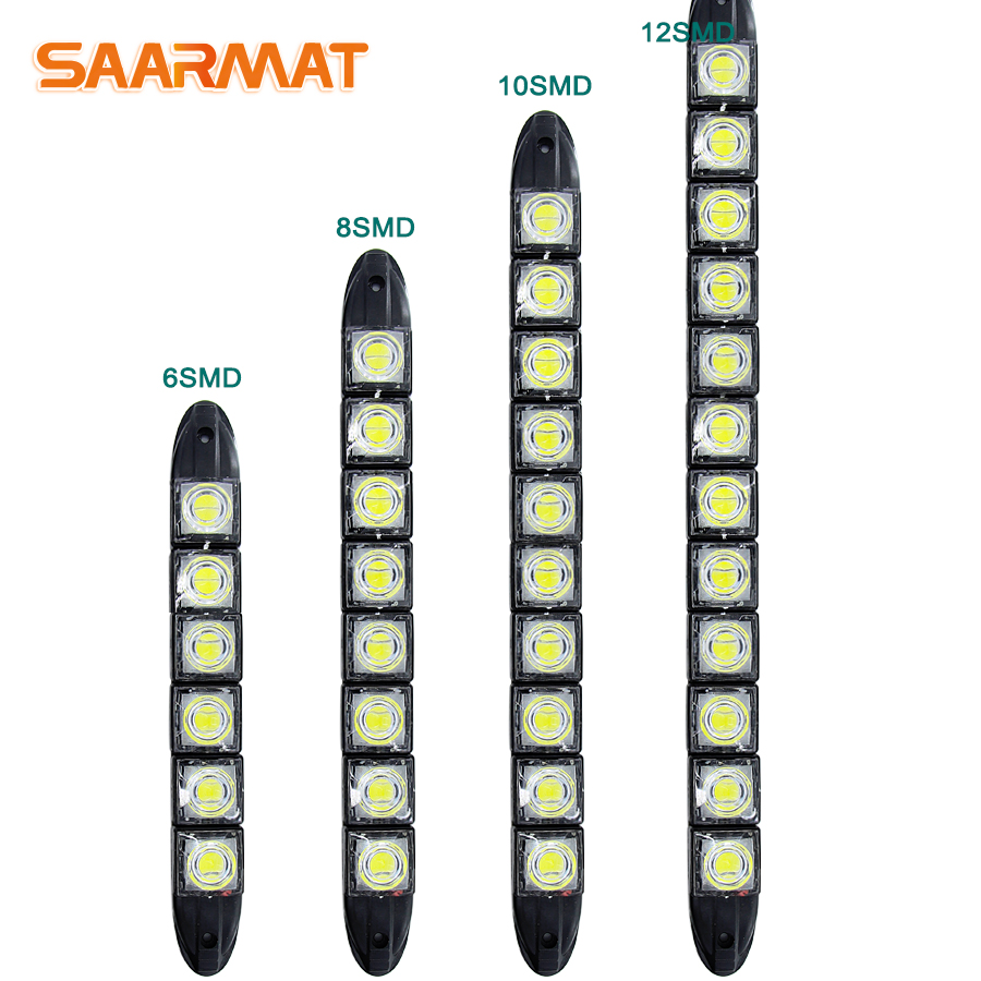 LED Car Day light Driving Front Fog Bar Flexible External Daytime Running light bulb 6-12 smd chips auto accessories DRL white