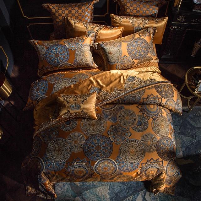 Luxury Bedding set Queen King size Golden Silver Satin Cotton Bed set Doona Duvet cover Bed sheet set juego de cama linge de lit