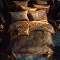 Juego de cama de lujo reina rey tamaño dorado plata satén algodón cama conjunto Doona edredón cubierta cama hoja juego de JUEGOS de cama de luz