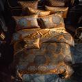 Luxe Beddengoed set Queen King size Gouden Zilver Satijn Katoen Bed set Doona dekbedovertrek laken set juego de cama linge de lit