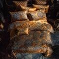 Luxus Bettwäsche set Königin König größe Goldene Silber Satin Baumwolle Bett set Doona abdeckung bettlaken set juego de cama linge de lit