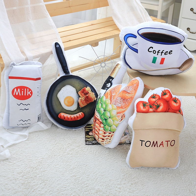 1pc Creative Coffee Milk Plush Toys 3D Simulation Food Shape Plush Pillow Stuffed Sofa Cushion Home Decor Funny Gifts for Kids 2017 new 1pc 60cm creative simulational plush bread shape pillow plush nap pillow cushion birthday gift for children
