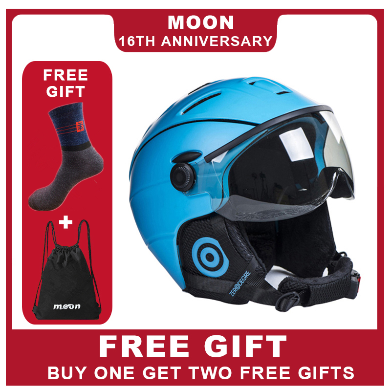 MOON Goggles Skiing Helmet Integrally Molded PC EPS CE Certificate Ski Helmet Outdoor Sports Ski Snowboard