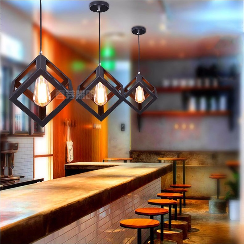 Charmant Nordic Industrial LOFT American Retro Modern Minimalist Cube Chandelier  Restaurant Bar Cafe Lamp Lighting Free Shipping In Pendant Lights From  Lights ...