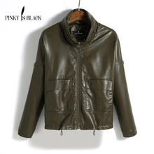 Pinky Is Black Leather Jacket Women Spring Autumn Coat Short Loose Motorcycle Clothing Female Outerwear