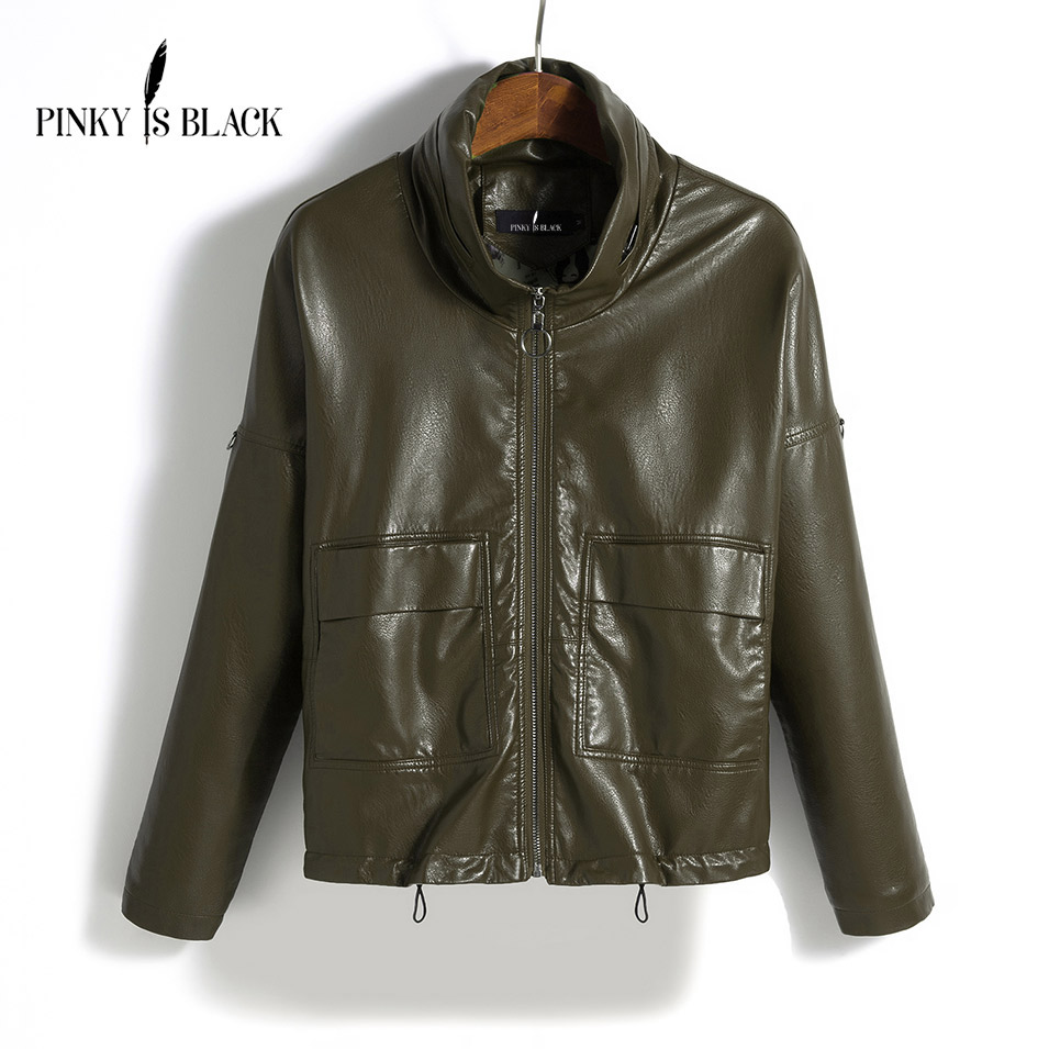 Pinky Is Black   Leather   Jacket Women Spring Autumn   Leather   Coat Women Short Loose Motorcycle   Leather   Clothing Female Outerwear