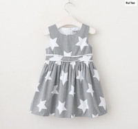 YGP71234241 2018 Baby Girls Dress Print Stars Fashion Girl Dress Summer GirlS Princess Dress Striped Baby