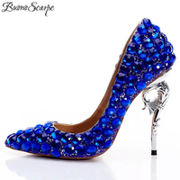 BuonoScarpe Sexy Women Pumps Bling Bling Bride Wedding Shoes Big Strass High Heel Pumps Pointed Toe Crystal Royal Party Heels