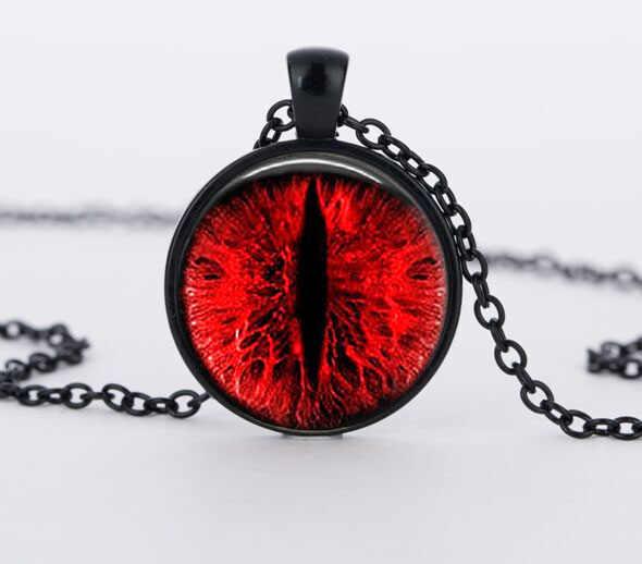 SUTEYI czerwony kocie oko naszyjnik Charms smocze oczy zdjęcie szkło Cabochon Pendnat Handmade czarny łańcuch naszyjniki kobiety mężcz...