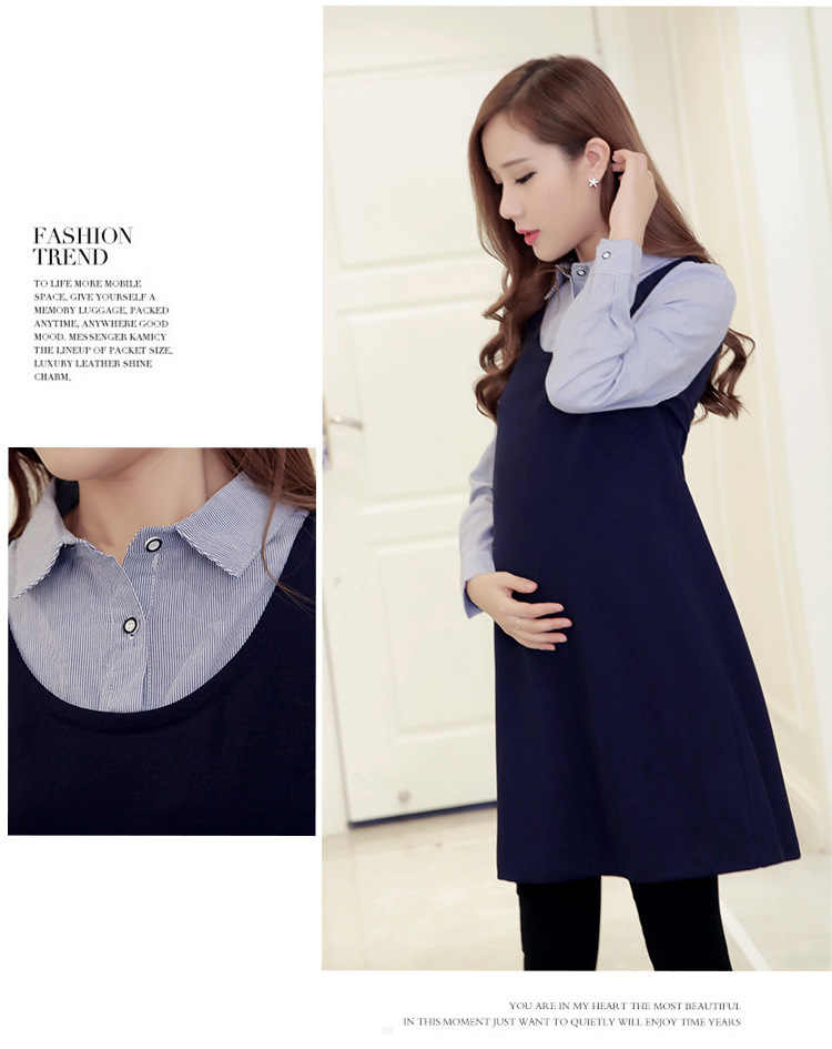 d2889f869480d ... Winter plus velvet thickening maternity dress Clothes autumn One Piece  Dress Loose Stylish Dress for Pregnant ...
