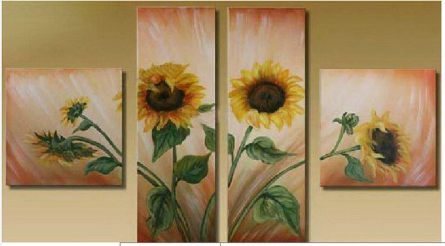 Hand Painted Wall Art Abstract Landscape Sunflower Oil Painting Pictures On  Canvas Group Of Pictures