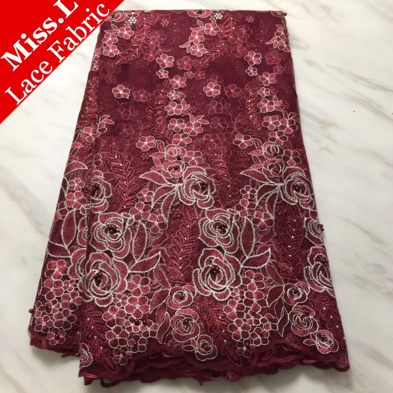 Burgundy Color African Lace Fabric Beautiful France Embroider Lace With Stone And Beads Nigeria Guipure Lace For Wedding DressesBurgundy Color African Lace Fabric Beautiful France Embroider Lace With Stone And Beads Nigeria Guipure Lace For Wedding Dresses