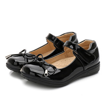 Black white girl leather shoes  Childrens student For school Dress for students Dance Wedding Party Shoes