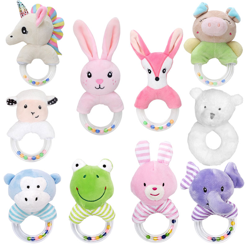 High Quality Baby Rattles Hand Bells Stroller Toys For Newborns 0-12 Months Colourful Animal Horses Elephants Pigs Bunny Rattle