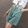 Summer Linen Midi Palazzo Shorts For Women Candy Color Elastic Waist Casual Fifth Shorts Plus Size Pocket Straight Shorts