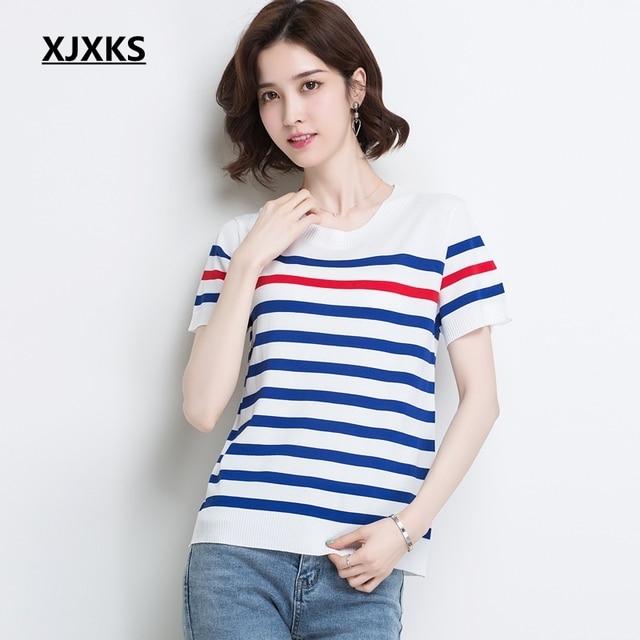 XJXKS Tee Shirt Femme Camisas Mujer T Shirt Women Clothes 2019 Stripe Knitted Oversized T Shirt Elastic Summer Top