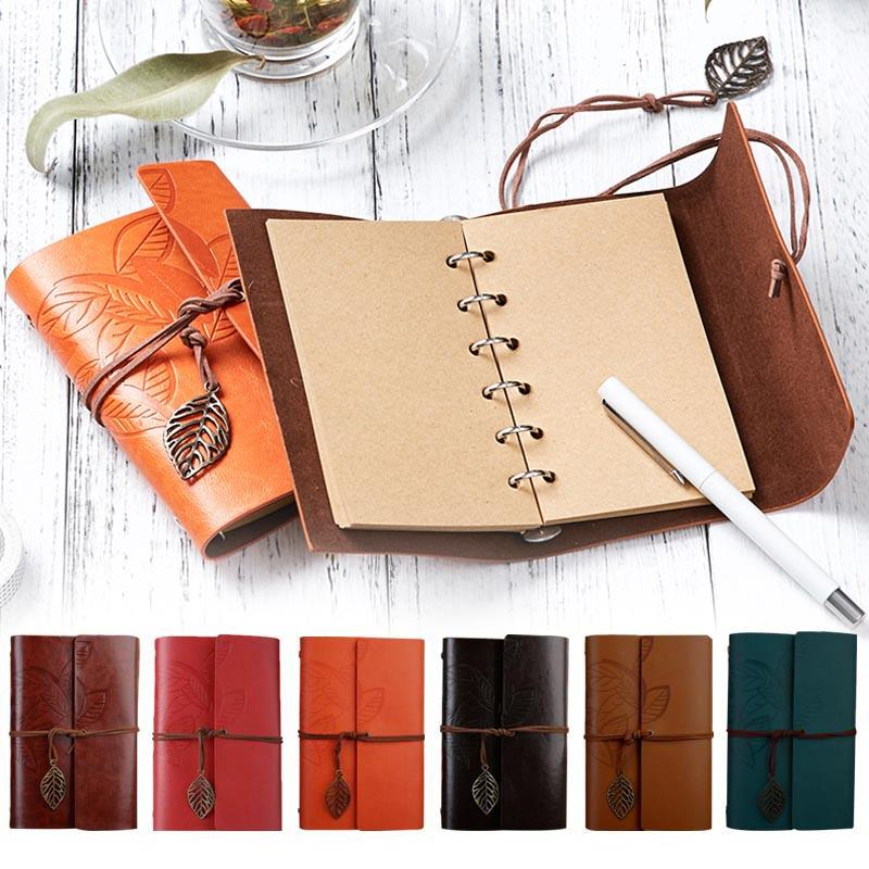 Cobee Travelers Notebook Leaves Classic Vintage Notebook Portable Refillable Journal Travel PU Leather Note Book