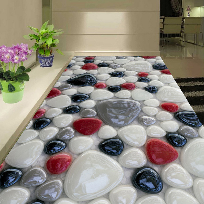 Custom Self-adhesive Floor Mural Wallpaper 3D Creative Colorful Stone Floor Tiles Sticker Bathroom Living Room PVC Wallpaper 3 D