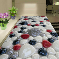 Custom Self Adhesive Floor Mural Wallpaper 3D Creative Colorful Stone Floor Tiles Sticker Bathroom Living Room