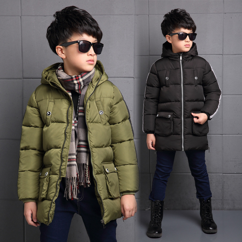 2017 New Boys Winter Thick Warm Coat Kids School Hooded Casual Jacket Kid Snow Outerwear Down Cotton-Padded Winter Coats Clothes 2017 new baby girls boys winter coats jacket children down outerwear warm thick outdoor kids fur collar snow proof coat parkas