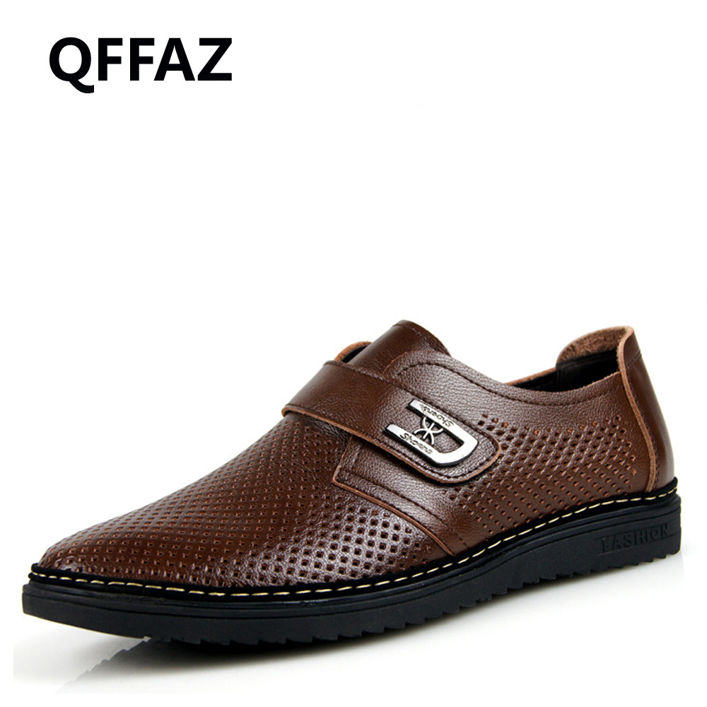 QFFAZ New Men Casual Shoes Summer Leather Brand Fashion Shoes Man Comfortable Breathable Men Soft Shoes Big Size 45 top brand high quality genuine leather casual men shoes cow suede comfortable loafers soft breathable shoes men flats warm