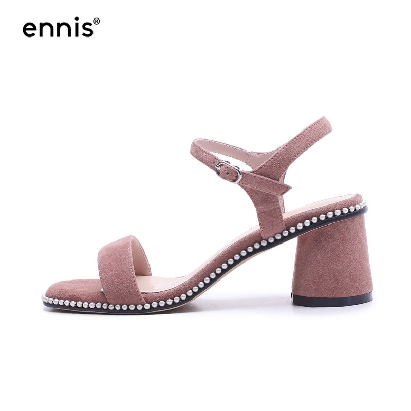 af26f05e4196 ... Leather Suede M8107 Summer Women New Sandals ENNIS Gladiator Quality  High High Studded 2018 Heels Chunky ...