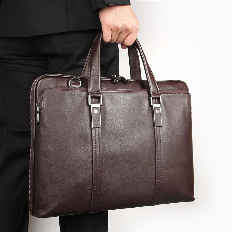 Nesitu Black Coffee Genuine Leather 14'' Laptop Office Men Briefcase Male Messenger Bags Business Travel Bag A4 Portfolio M7326