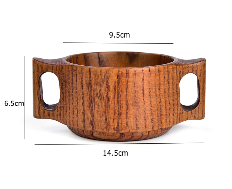 1Pc Kids Wooden Bowl Baby Feeding Bowls Snack Fruit Food Container Small Wood Bowl with Handle for Children Dining Tableware (3-1)