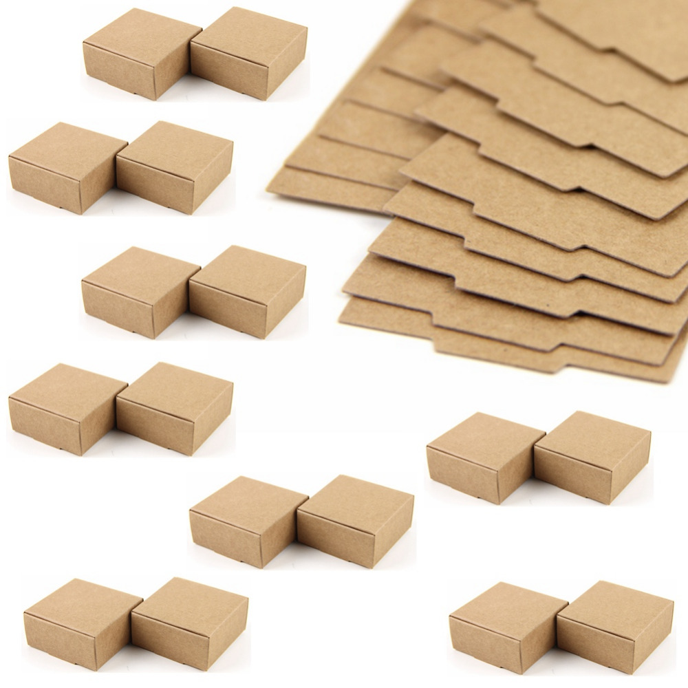 50pc Cardboard Mini Box SIZE 5.5cmx5.5cmx2.5cm DIY Kraft Paper Box Soap Box Jewelry Packing Gift Box image