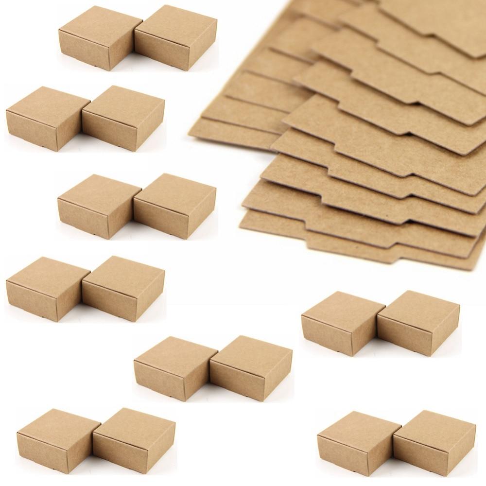 50pc Cardboard Mini Box SIZE 5.5cmx5.5cmx2.5cm DIY Kraft Paper Box Soap Box Jewelry Packing Gift Box