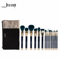Jessup 15pcs Beauty Makeup Brushes Set Brush Tool Blue And Darkgreen T113 Cosmetics Bags Women Bag