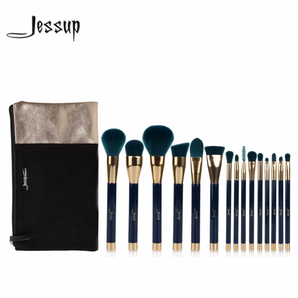 Jessup Brushes 15pcs Beauty Makeup Brushes Set Brush Tool Blue and Darkgreen Cosmetics Bags T113&CB002