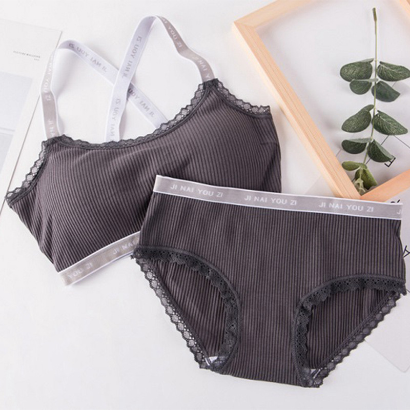 Women Letter Print Underwear Set 2018 Comfortable Wireless Lingerie Bra Set