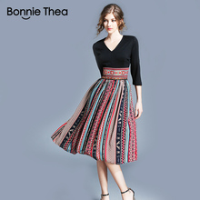 women Boho print black Patchwork Autumn dress office work casual ladies dresses femme vintage slim short