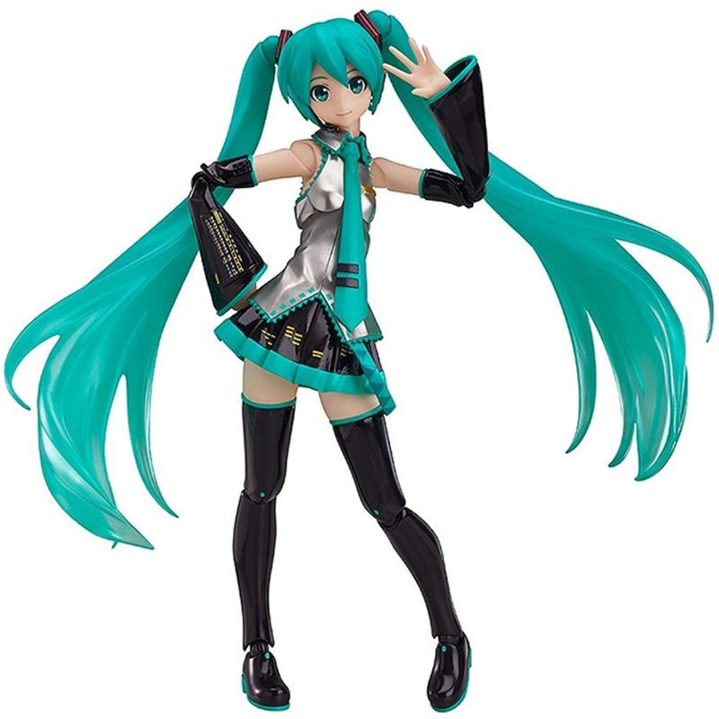 14cm Figma Volcaloid Hatsune Miku With Guitar PVC Action Figure Collection Model Toy Brinquedos Christmas Gift With Box cute 10cm nendoroid hatsune miku mid autumn miku pvc action figure collection model toy doll christmas birthday gift with box