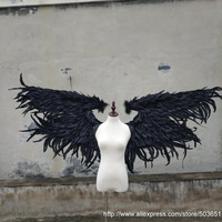 EMS Бесплатная доставка; черный Дьявол Крылья большие размеры перо Крылья пасхальные костюмы сценического шоу реквизит Игры Косплэй поставк