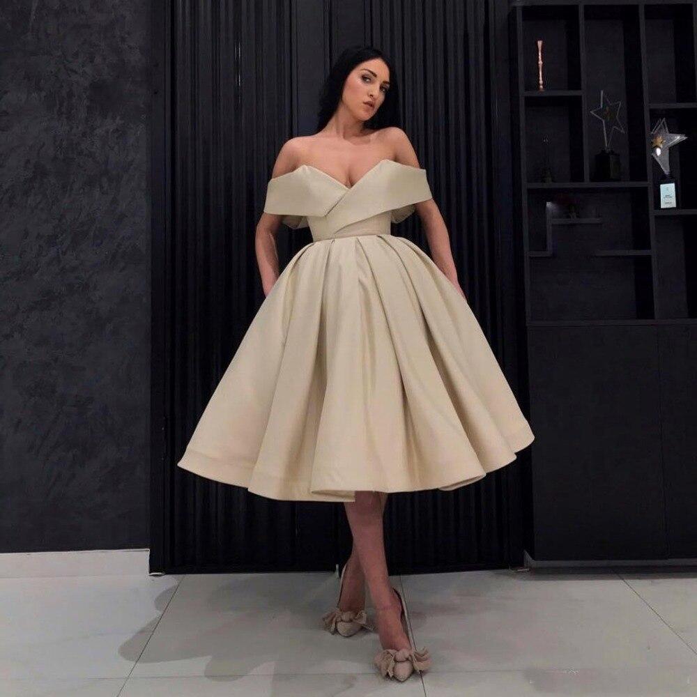 Sexy Champagne 2018 Cheap Off Shoulder   Cocktail     Dresses   Pleats Formal Prom   Dresses   Party Gowns Formal   Dress   Vestidos De