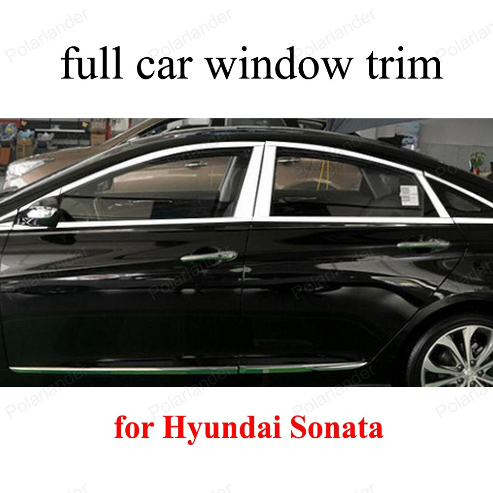 Exterior Accessories Stainless Steel full Window Trim Decoration Strips for H-yundai Sonata with center pillar stainless steel full window with center pillar decoration trim car accessories for hyundai ix35 2013 2014 2015 24