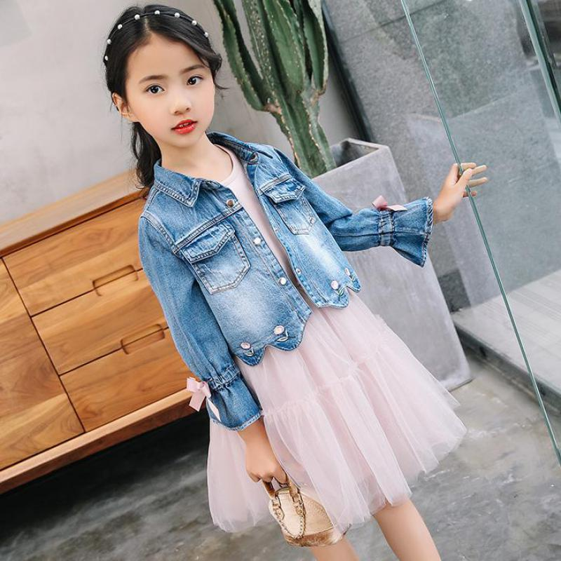 Children Clothing Suits 2018 New Autumn Fashion Style Girls Cowboy Long-sleeve Mesh Dress + Jackets Kids Girls Clothing Sets 12 garyduck girls clothing sets kids knitted suits long sleeve houndstooth tops skirts 2pcs for girls suits